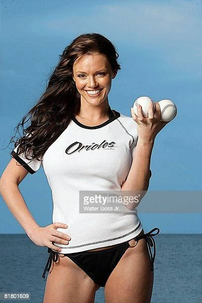 Baseball Closeup portrait of Anna Benson wife of Baltimore Orioles pitcher Kris Benson Key Biscayne FL 3/24/2006