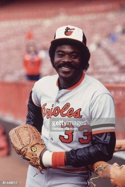 Baseball Closeup portrait of Baltimore Orioles Eddie Murray before game vs California Angels Anaheim CA 5/7/1982