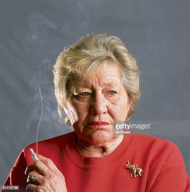 Baseball Closeup portrait of Cincinnati Reds owner Marge Schott holding cigarette Cincinnati OH 4/25/1996