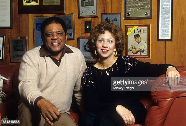 Closeup portrait of former baseball player Willie Mays posing with his wife Mae Louise Allen during photo shoot at home San Francisco CA CREDIT...
