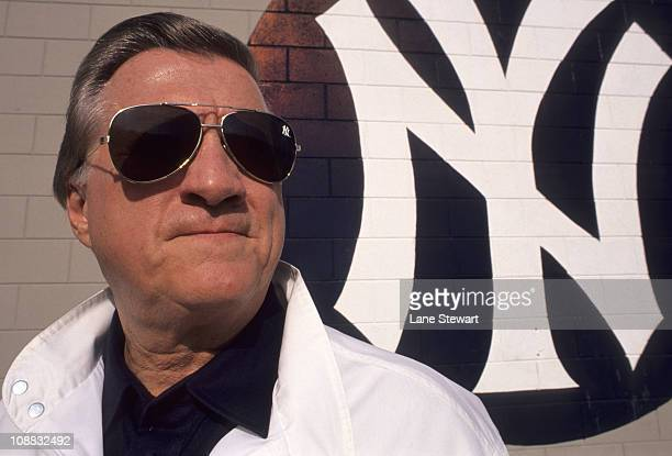 Closeup portrait of New York Yankees owner George Steinbrenner wearing sunglasses with Yankees logo outside of Yankees Minor League ComplexTampa FL...