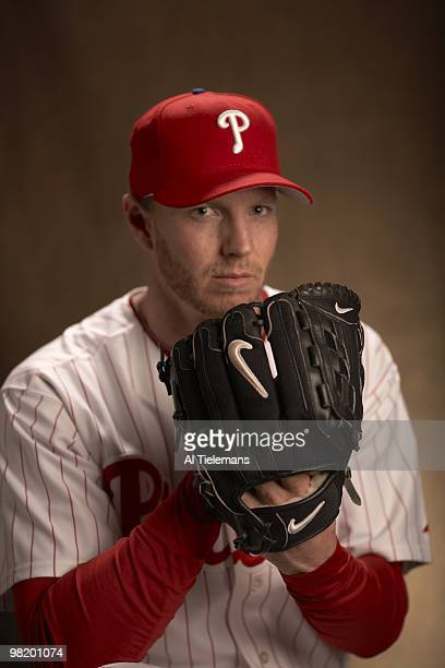 Closeup portrait of Philadelphia Phillies pitcher Roy Halladay during spring training photo shoot at Bright House Field Clearwater FL 3/16/2010...