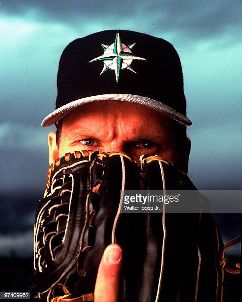 Closeup portrait of Seattle Mariners Randy Johnson with glove during spring training photo shoot at Peoria Stadium Peoria AZ 3/2/1997 CREDIT Walter...