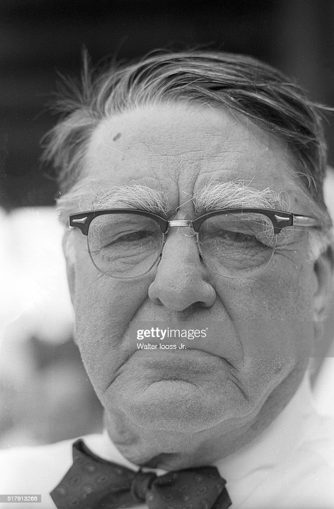Closeup portrait of St. Louis Cardinals consultant Branch Rickey during spring training game vs Pittsburgh Pirates at Terry Park. Walter Iooss Jr. F7 )