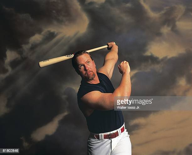 Baseball Closeup portrait of St Louis Cardinals Mark McGwire in action Los Angeles CA 12/6/1998