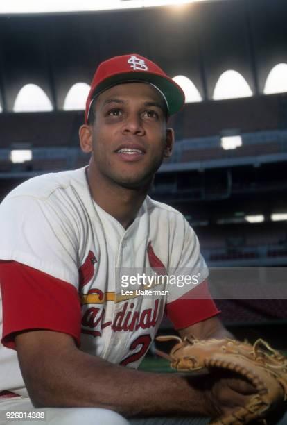 Closeup portrait of St Louis Cardinals Orlando Cepeda during photo shoot before game vs Cincinnati Reds at Busch Stadium St Louis MO CREDIT Lee...