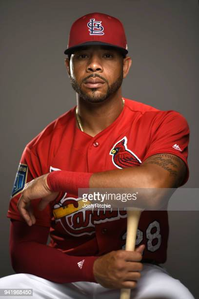 Closeup portrait of St Louis Cardinals outfielder Tommy Pham posing during spring training photo shoot at Rodger Dean Stadium Jupiter FL CREDIT Josh...