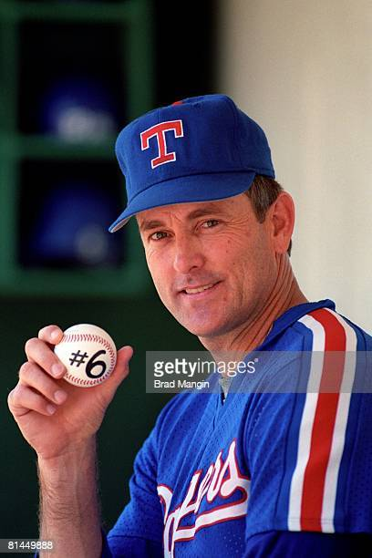 Baseball Closeup portrait of Texas Rangers Nolan Ryan with ball equipment after throwing 6th career no hitter before game vs Oakland Athletics...