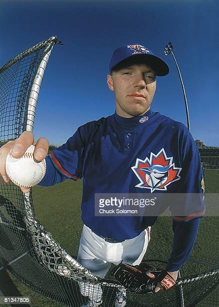 Baseball Closeup portrait of Toronto Blue Jays Roy Halladay during spring training Dunedin FL 2/26/2000