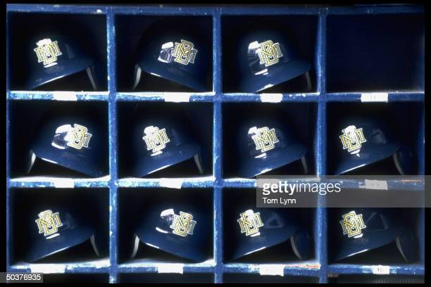 Closeup view of Milwaukee Brewers helmet rack during game vs Chicago White Sox.