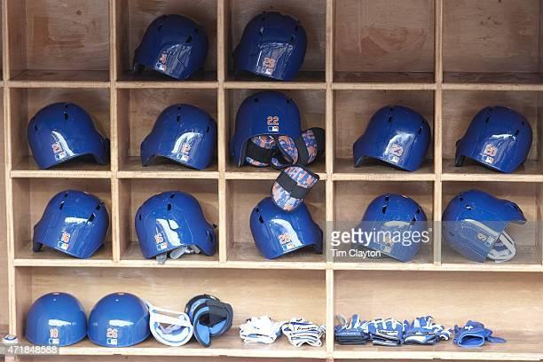 Closeup view of New York Mets batting helmets in dugout before game vs New York Yankees at Yankee Stadium Equipment Bronx NY CREDIT Tim Clayton