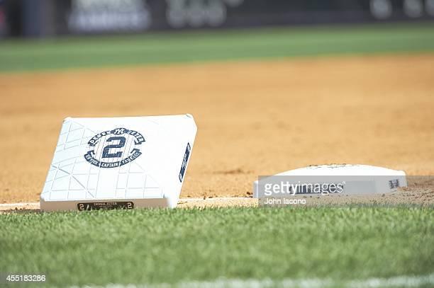 Closeup view of New York Yankees Derek Jeter logo on base for Derek Jeter Day before game vs Kansas City Royals at Yankee Stadium Equipment Bronx NY...