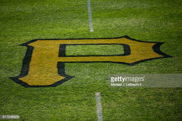Closeup view of P painted on grass before Pittsburgh Pirates vs Toronto Blue Jays spring training game at McKechnie Field Bradenton FL CREDIT Michael...