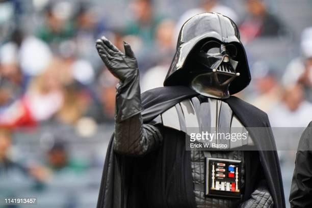 Closeup view of person in Darth Vader costume before New York Yankees vs Minnesota Twins game at Yankee Stadium Bronx NY CREDIT Erick W Rasco