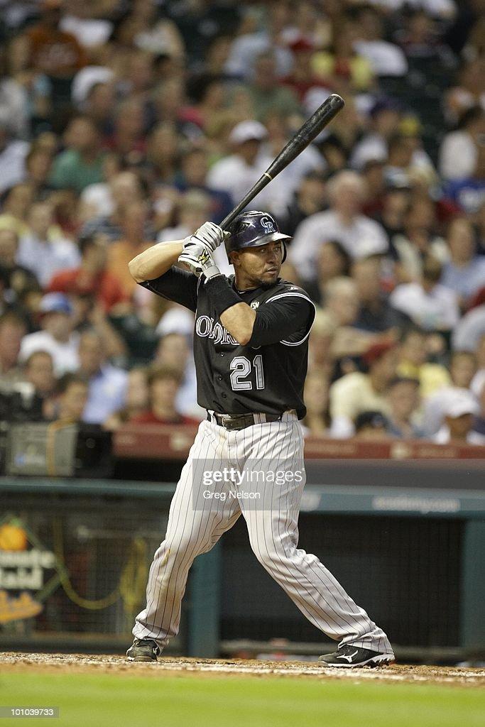 Colorado Rockies Miguel Olivo (21) in action, at bat vs Houston Astros. Houston, TX 5/20/2010