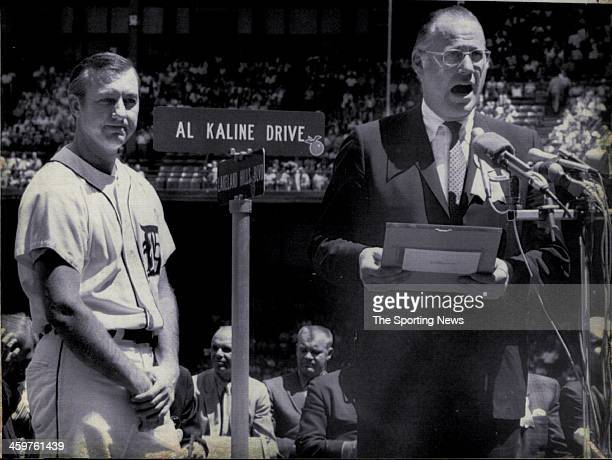 Baseball Commissioner Bowie Kuhn speaks on August 2 1970 in the accolade to Detroit's right fielder Al Kaline at Tiger Stadium prior to the game...