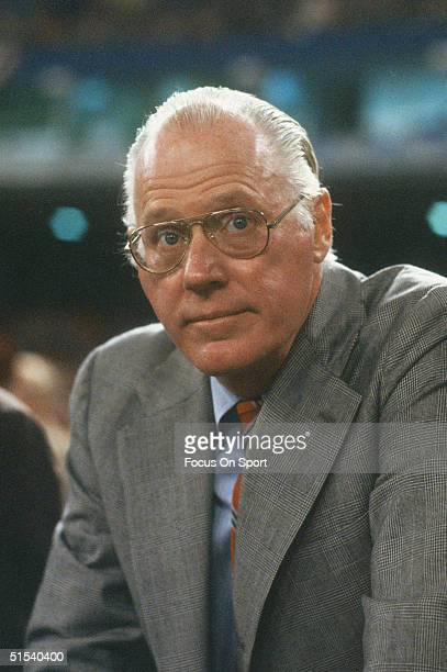 Baseball Commissioner Bowie Kuhn watches a game circa 1980's