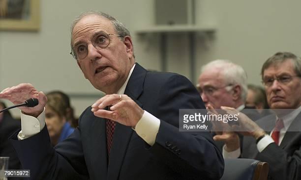 Baseball Commissioner Bud Selig looks on as Former Senator George Mitchell testifies before the House Committee on Oversight and Government Reform on...