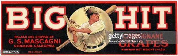 Baseball design attracts customers to BIg Hit grapes produced circa 1920 in Stockton, California.