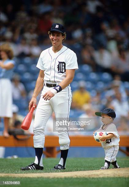 Detroit Tigers Alan Trammell with son Lance on field during family day before game vs Toronto Blue Jays at Tiger Stadium Detroit MI CREDIT George...