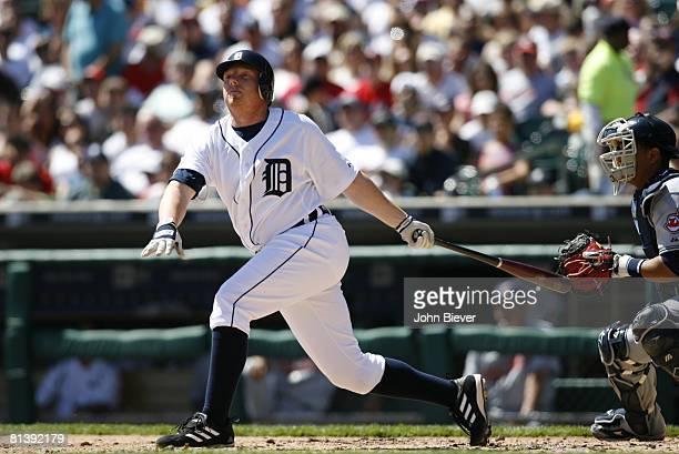 Baseball Detroit Tigers Chris Shelton in action at bat vs Cleveland Indians Detroit MI 4/15/2006