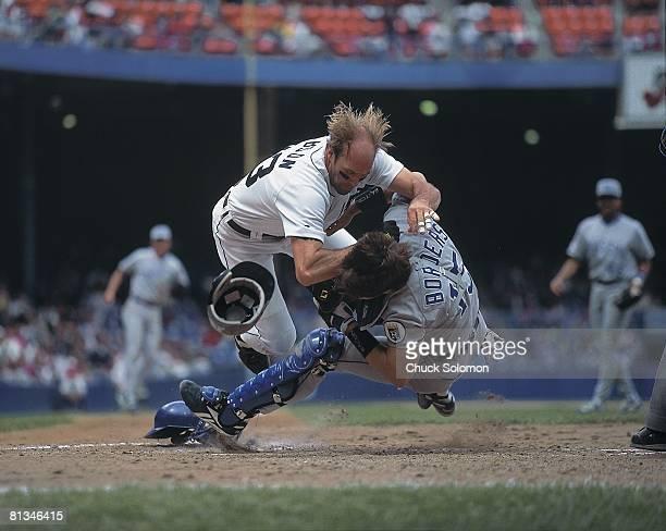 Baseball Detroit Tigers Kirk Gibson in action scoring run vs Kansas City Royals Pat Borders Detroit MI 7/9/1995