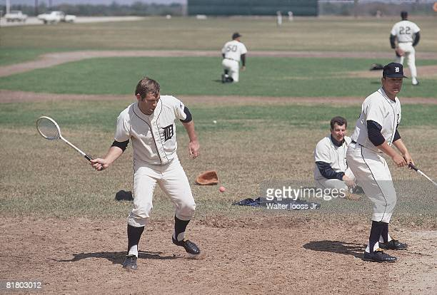Baseball Detroit Tigers playing badminton during spring training Tampa FL 3/19/1969