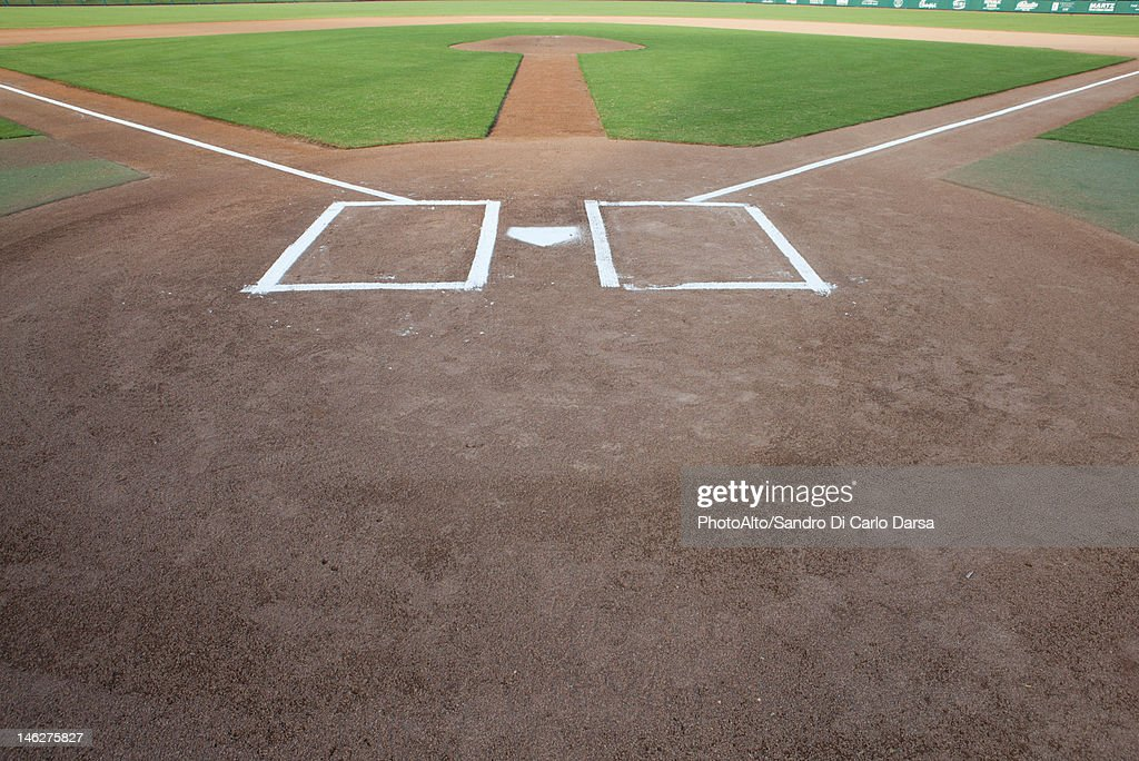 Baseball diamond and home plate : Stock Photo
