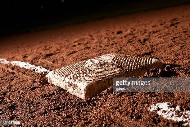 baseball diamond at night - base sports equipment stock pictures, royalty-free photos & images