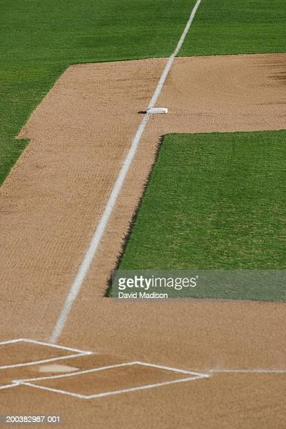 Baseball diamond, close-up of third base and home plate, elevated view