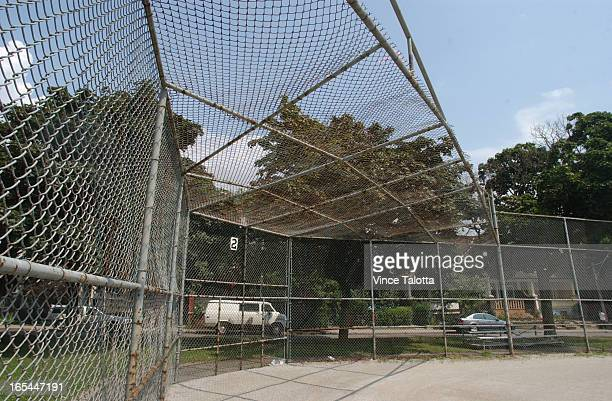 Baseball diamond fence is not high enough. Foul balls are denting parked and passing cars.