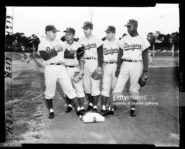 Baseball Dodgers at Vero Beach 1 March 1958 Jim GentileNorm LarkerGil HodgesGino CimoliDuke SniderCarl FurilloWalt AlstonPee Wee ReeseDon SimmerRandy...