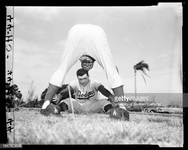 Baseball Dodgers at Vero Beach 2 February 1958 Don NewcombeDanny McDevittJoe Pignatano 'Sports' Supplementary material reads 'International News...