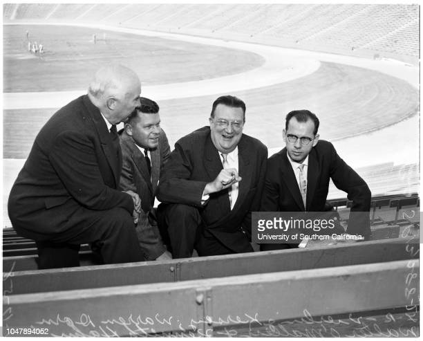 Baseball Dodgers in Coliseum 17 January 1958 Kenneth HahnWilliam S HughesDavid LamonVierling KerseyWarren DornWalter O'MalleyDon LokerJim SmithBurton...