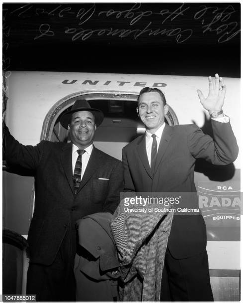 Baseball Dodgers players arrival 27 October 1957 Gil HodgesRoy Campanella