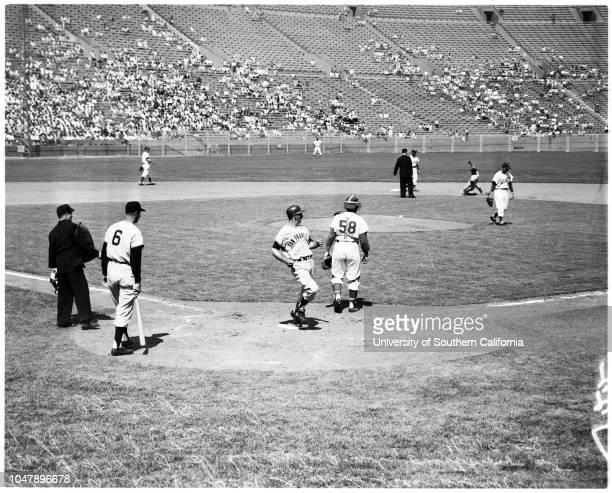 Baseball -- Dodgers versus Giants, 19 April 1958. Hank Sauer;Jocko Conlon, Umpire;Ruben Gomez;Joe Pignatano;Dick Gray;Orlando Cepeda;Jim...