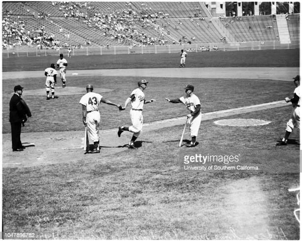 Baseball Dodgers versus Giants 19 April 1958 Hank SauerJocko Conlon UmpireRuben GomezJoe PignatanoDick GrayOrlando CepedaJim DavenportWillie...