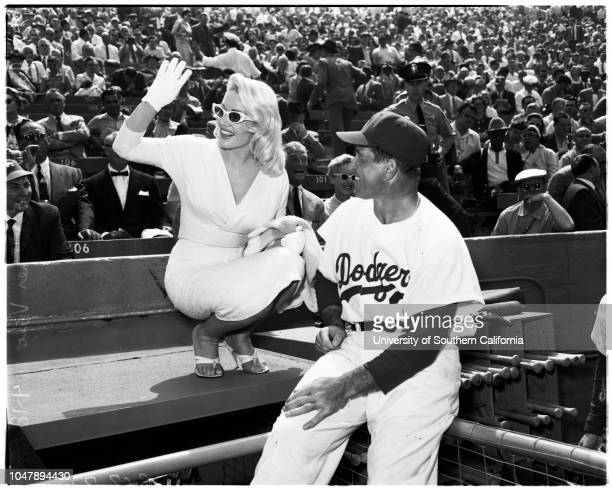 Baseball Dodgers versus Giants opening day 18 April 1958 George JesselFord FrickNorris PoulsonGeorge ChristopherMr Mrs Walter O'MalleyMr Mrs Goodwin...