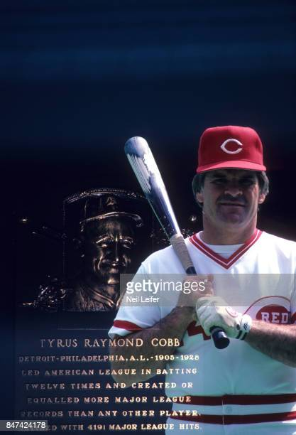 Double exposure portrait of Cincinnati Reds player/ manager Pete Rose during photo shoot at Riverfront Stadium View of Ty Cobb's hall of fame plaque...