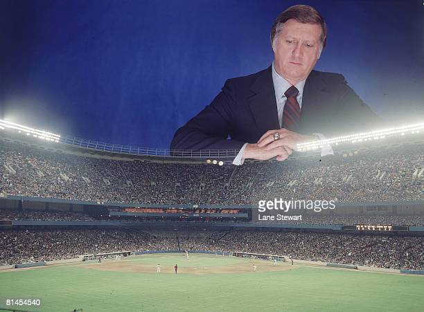 Baseball Dye transfer and portrait of New York Yankees owner George Steinbrenner at Yankee Stadium Bronx NY 9/22/1977