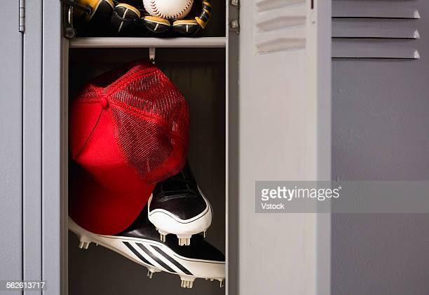 Baseball equipment in locker