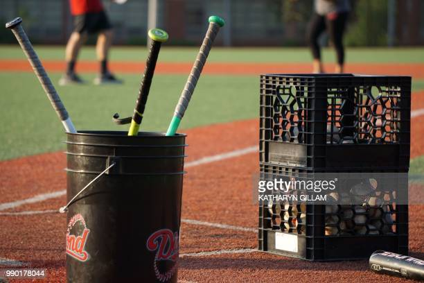 Baseball equipment is ready for children to practice their baseball skills at the Nationals Youth Baseball Academy in Washington DC on May 7 2018 On...