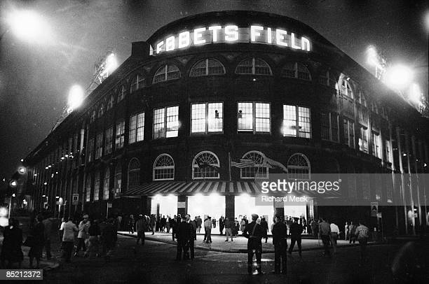 Exterior view of Ebbets Field before Brooklyn Dodgers vs Pittsburgh Pirates game Final game at Ebbets Field before move to Los Angeles Brooklyn NY...
