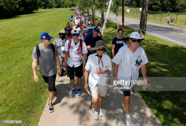 Baseball fans arrive for the Baseball Hall of Fame induction ceremony at Clark Sports Center on July 21, 2019 in Cooperstown, New York.