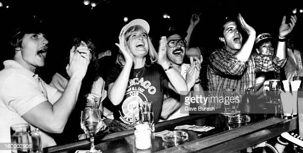 OCT 2 1984 OCT 3 1984 Baseball Fans Nancy Nicholas who is stright from Chicago was at the Brooklyns bar watching the Cubs game Yelling screaming...