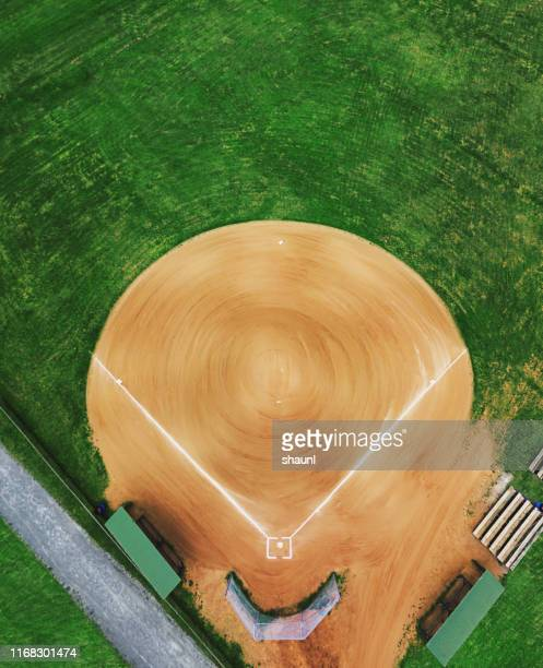 baseball field below - baseball diamond stock pictures, royalty-free photos & images