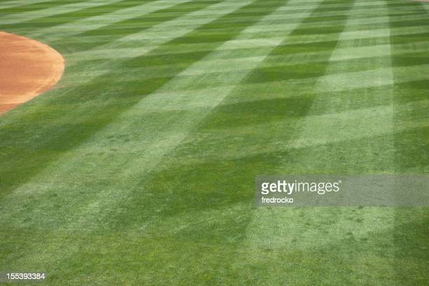 Baseball field grass cut in diamonds