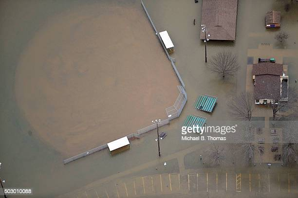 A baseball field is seen submerged in floodwater on December 31 2015 in Eureka Missouri The St Louis area and surrounding region are experiencing...