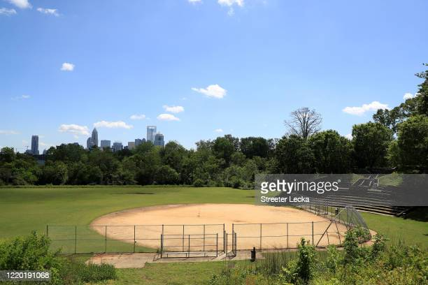 Baseball field remains closed in front of the Charlotte skyline during the coronavirus pandemic on April 21, 2020 in Charlotte, North Carolina. The...