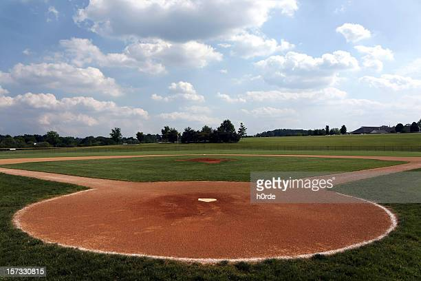 A baseball field shot on field from home plate